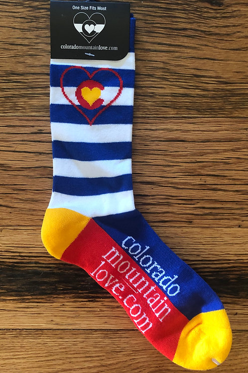Colorado Mountain Love Heart Flag Sock