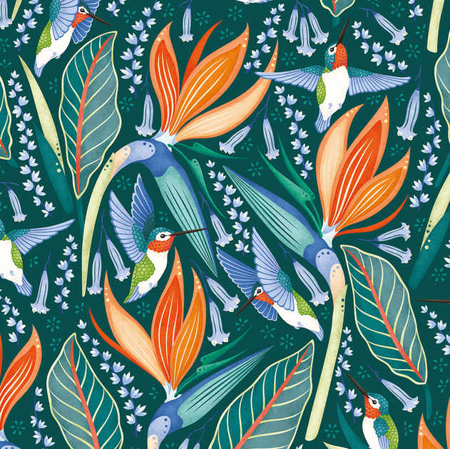 HUMMINGBIRDS PATTERN AVAILABLE IN 5 COLOURWAYS