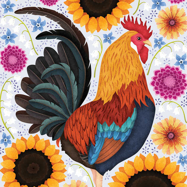 FARM STYLE ROOSTER ILLUSTRATION
