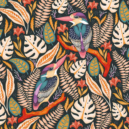EXOTIC KINGFISHERS PATTERN AVAILABLE IN 6 COLOURWAYS