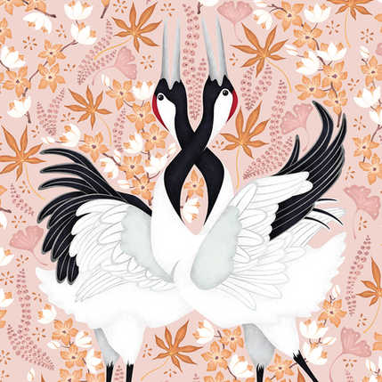 JAPANESE CRANES PATTERN AVAILABLE IN 4 COLOURWAYS