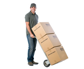 mover man with boxes on trolley