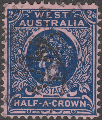 WESTERN AUSTRALIA SG 125 WA Reading Down 2/6d Deep Blue on Pink, Used Punct WA.