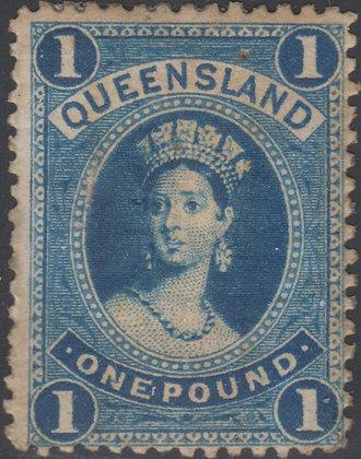 QUEENSLAND SG 161 £1 Blue, COLOUR TRIAL