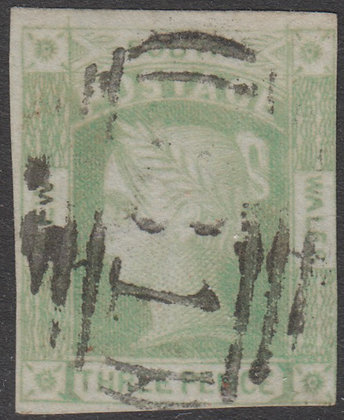 NEW SOUTH WALES SG 069 1852 3d Emerald-green, Laureates, Used