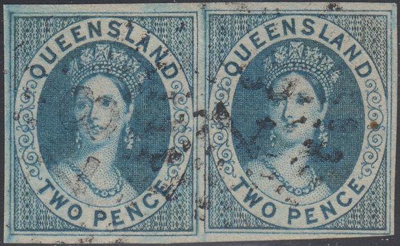 QUEENSLAND SG 002 2d BLUE IMPERF PAIR