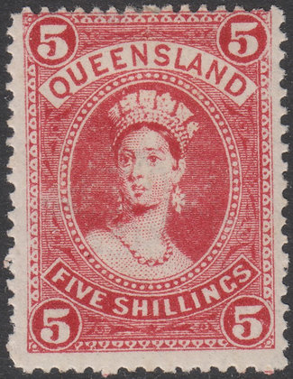 QUEENSLAND SG 310b 1907-11 5/- Carmine-red, Mint Lightly Hinged.