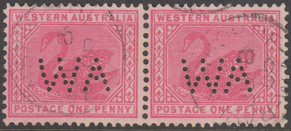 WESTERN AUSTRALIA SG 117a 1902-11 1d Rose-red, Fine Used pair, Punctured WA