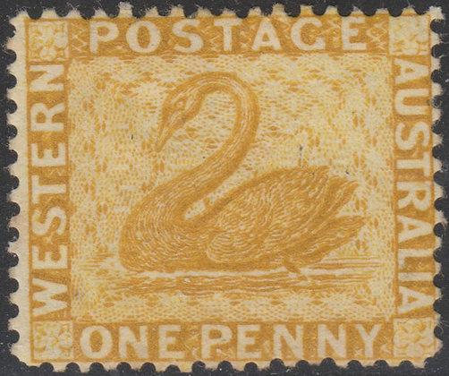 WESTERN AUSTRALIA SG 068w 1876-81 1d Ochre, Mint Part Gum.