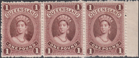 QUEENSLAND SG 161 COLOUR TRIAL STRIP OF 3 IN PLUM PERFORATED