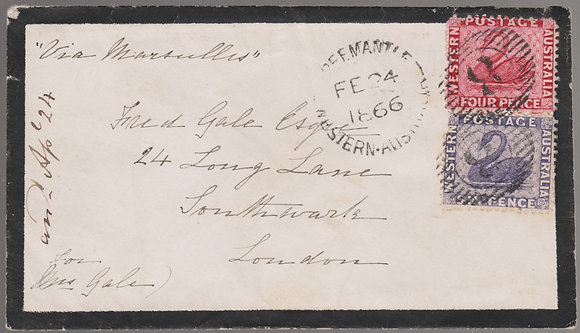 WESTERN AUSTRALIA 1866 Mourning Cover