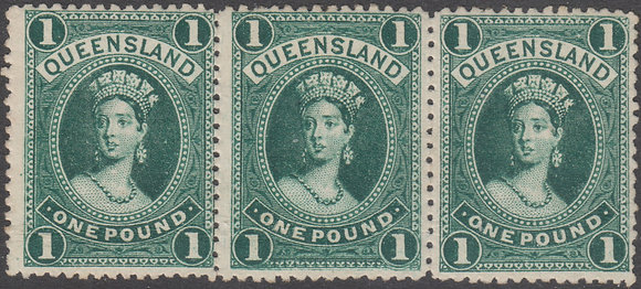QUEENSLAND SG 161a IN STRIP OF 3