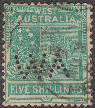 WESTERN AUSTRALIA SG 126 WA 1902-11 5/- Emerald-green, Used, Punctured WA.