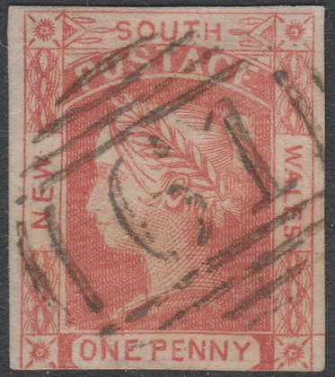 NEW SOUTH WALES SG 044 1851-52 1d Carmine, Laureates, Thick Yellow Paper. Used