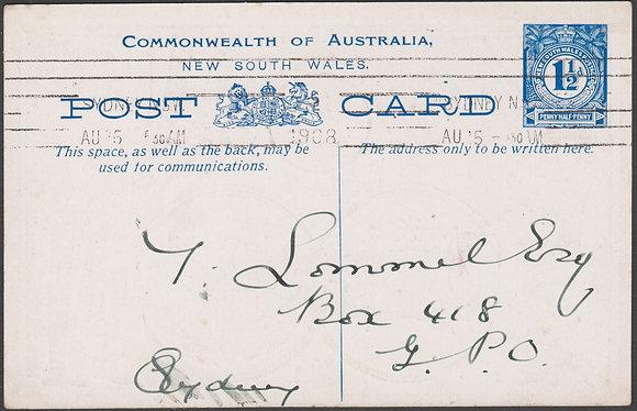 NEW SOUTH WALES 1½d FLEET CARD 1908