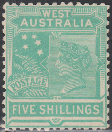 WESTERN AUSTRALIA SG 148 1905-12 5/- Pale Emerald-Green, Fine Mint Lightly Hinge