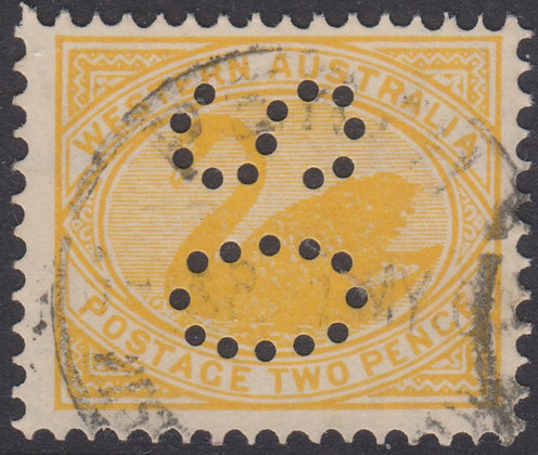 WESTERN AUSTRALIA SG 118a OS 1902-11 2d Dull Yellow, Used Puntured OS.