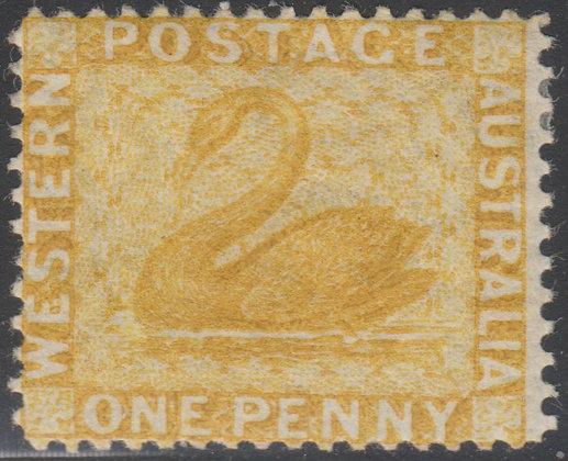 WESTERN AUSTRALIA SG 070 1876-81 1d Yellow-ochre, Mint Lightly Hinged,