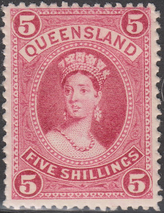 QUEENSLAND SG 159 1882-95 5/- Rose, Thick Paper, Mint Hinged.