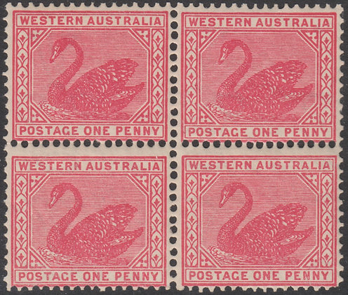 WESTERN AUSTRALIA SG 117a 1902-11 1d Carmine, Upright Wmk Block of 4