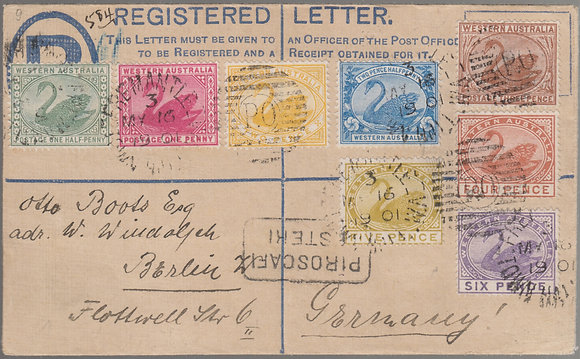 WESTERN AUSTRALIA  1901 ( MY 16 ) Formula Registered Envelope