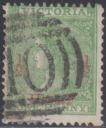 VICTORIA SG 174 ½d on 1d Green