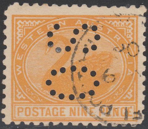 WESTERN AUSTRALIA SG 157 OS 9d Orange-yellow, Used, Punctured OS,