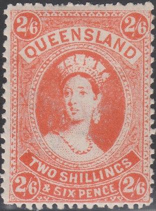 QUEENSLAND SG 309b 1907-11 2/6d Reddish Orange, Fine Mint Lightly Hinged.