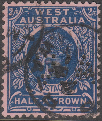 WESTERN AUSTRALIA SG 125 WA 2/6d Deep Blue on Pink, Used Punctured WA.