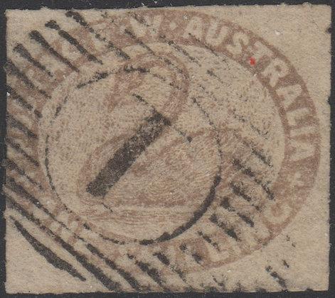WESTERN AUSTRALIA SG 006 1854-55 1/- Grey-brown, Used 15 Bar 1 of Perth.