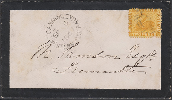 WESTERN AUSTRALIA SG 54 1867 Mourning Cover Canning to Fremantle