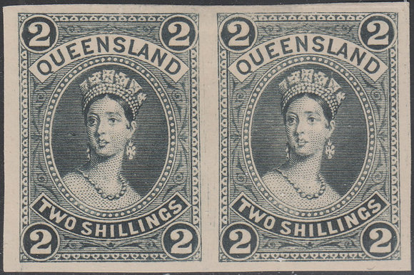 QUEENSLAND SG 152 PLATE PROOF COLOUR TRIAL PAIR IN BLACK