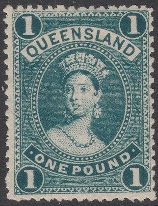 QUEENSLAND SG 274 1905-06 £1 Deep Green, Mint Lightly Hinged.