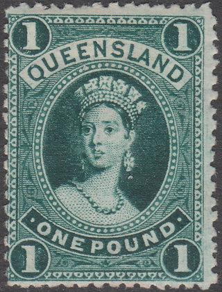 QUEENSLAND SG 165 1882-95 £1 Deep Green,  Mint Hinged.