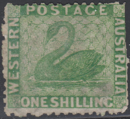 WESTERN AUSTRALIA SG 061 1864-79 1/- Bright Green. Unused no Gum.