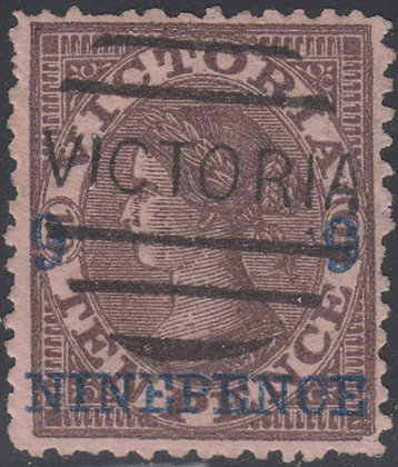 VICTORIA SG 171 9d on 10d Purple-brown on Pink Paper