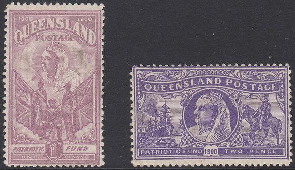 QUEENSLAND SG 263-264 1d (6d) Claret & 2d (1/-) Violet Charity Pair Fine Mint Hi
