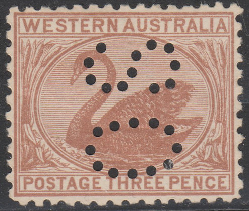WESTERN AUSTRALIA SG 141 OS 1905-12 3d Brown, Mint Hinged, Punctured OS.