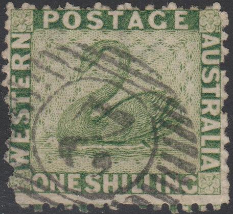 WESTERN AUSTRALIA SG 062 1864-79 1/- Sage-green, Used 15 Bar 2 of Perth.