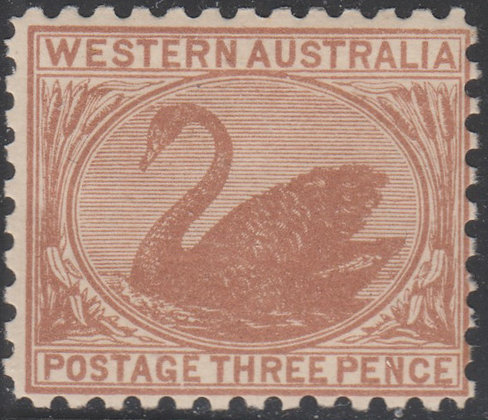 WESTERN AUSTRALIA SG 153 1905-12 3d Brown, Mint Lightly Hinged.