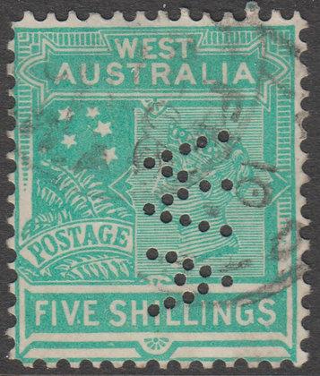WESTERN AUSTRALIA SG 126 WA 5/- Emerald-green, Used, Punctured WA Reading Down