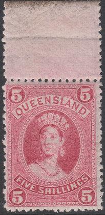 QUEENSLAND SG 154 5/- Rose, Mint Hinged Top Marginal Single.