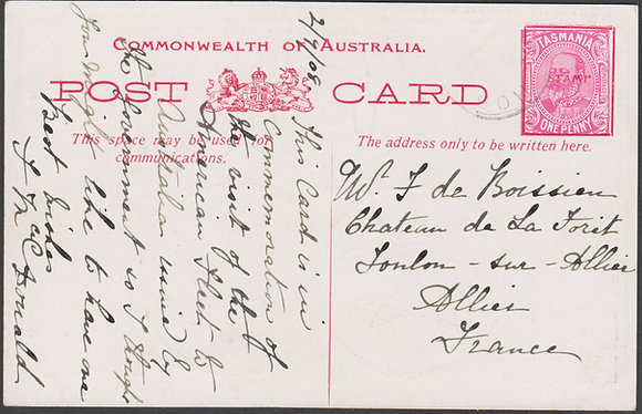 TASMANIA 1d FLEET CARD 1908