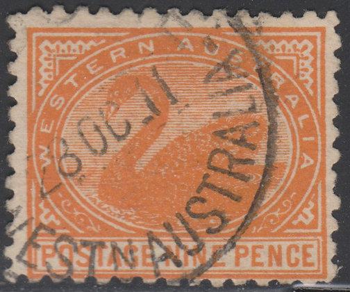 WESTERN AUSTRALIA SG 157a 9d Red-orange, Used,