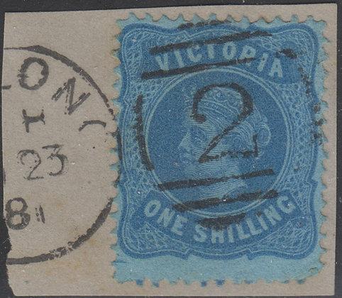 VICTORIA SG 180c 1/- Pale Blue on Blue Paper.