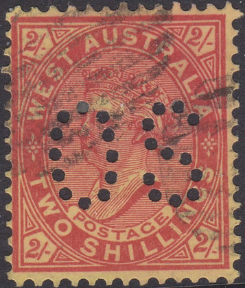WESTERN AUSTRALIA SG 124 OS 1902-11 2/- Brownish Red on Yellow,Used Punctured OS