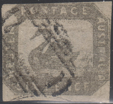 WESTERN AUSTRALIA SG 019 1857-59 6d Grey-black. Used Void Grid Cancel.