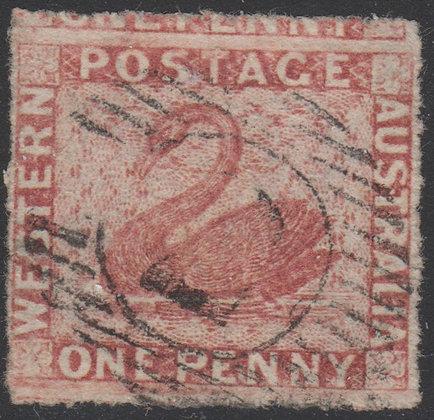 WESTERN AUSTRALIA SG 044 1861 1d Rose-carmine, Used 15 bar 2 of Perth.