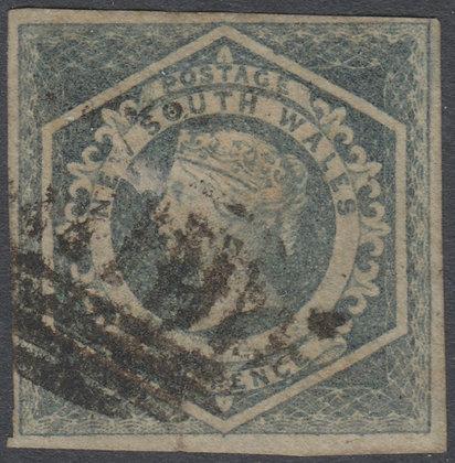 NEW SOUTH WALES SG 092 1854-59 6d Bluish Grey, Diadem, Used.
