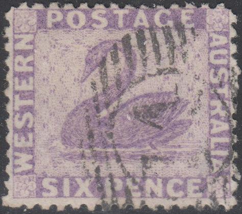 WESTERN AUSTRALIA SG 059x 1864-79 6d Lilac. Used 15 bar 14 of Newcastle.